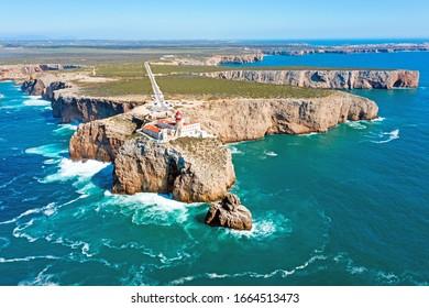 """Luftaufnahmen aus dem Leuchtturm """"Cabo Vicente"""" in Portugal"""
