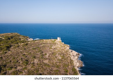 Aerial: Lighthouse in Cala Figuera, Mallorca, Spain