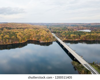 Aerial of Loch Raven Reservoir in Baltimore County, Maryland during Fall...