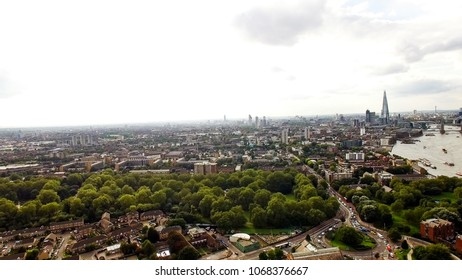 Aerial London Urban Cityscape around South of the City Neighborhood Bermondsey, Elephant & Castle Above Southwark Park