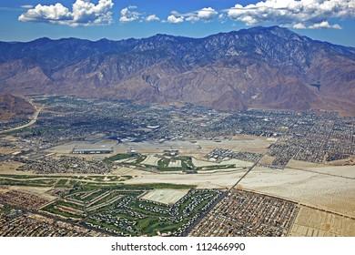 Aerial look at Palm Springs, CA