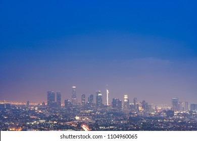Aerial Los Angeles Cityscape Sunset, LA California, USA