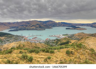 An aerial of Lyttelton harbor near Christchurch, New Zealand