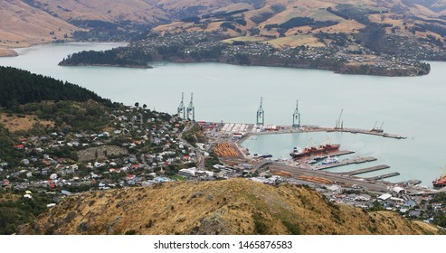 An aerial of Lyttelton harbor, New Zealand near Christchurch