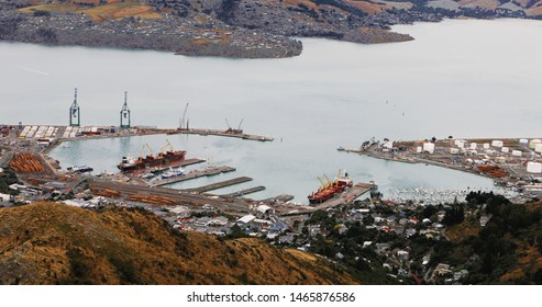 An aerial of Lyttelton near Christchurch, New Zealand