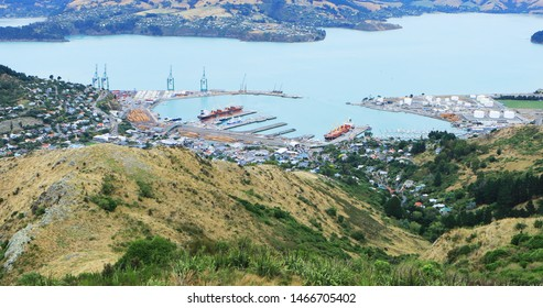 An aerial of Lyttelton, New Zealand by Christchurch