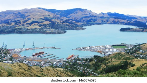 An aerial of Lyttelton, New Zealand near Christchurch