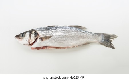 Aerial making raw sea bass on white background