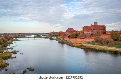 Aerial Malbork castle view in autumn scenery
