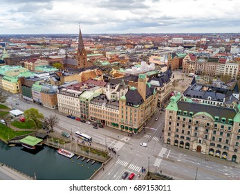 Aerial Malmo city view from above with harbour, old town of Malmo and city center with Savoy hotel on the corner.