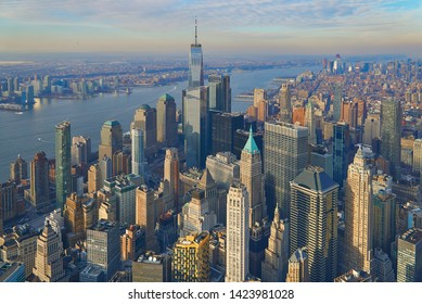 Aerial of the Manhattan financial district with modern office towers in New York City