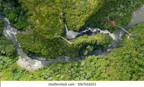Aerial Map Of Pailon Del Diablo Waterfall Complex Popular Touristic Destination In Banos De Agua Santa Ecuador