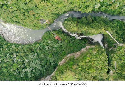 Aerial Map Of Pailon Del Diablo Waterfall Complex Popular Touristic Destination In Banos De Agua Santa Ecuador