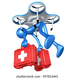 Aerial Medical Relief Drone 3D Illustration Concept