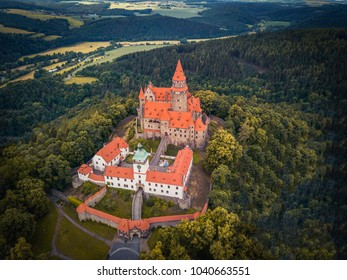 Aerial of medieval castle on the hill in Czech region of Moravia