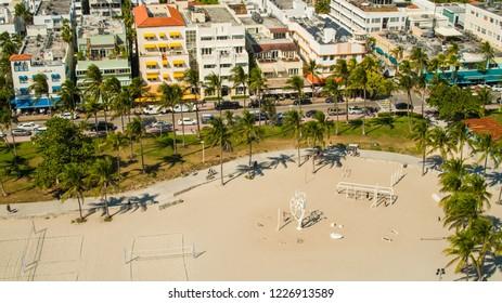 Aerial Miami Beach Lummus Park Muscle Beach Ocean Drive