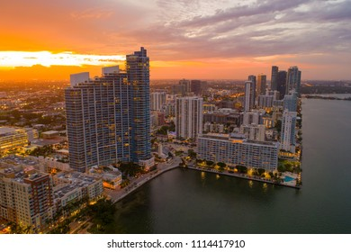 Aerial Miami edgewater district shot with a drone at twilight