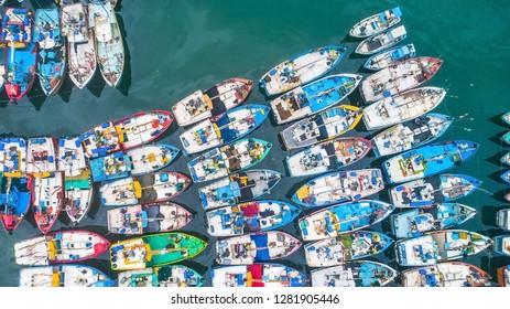Aerial. Mirissa harbor. Sri Lanka.
