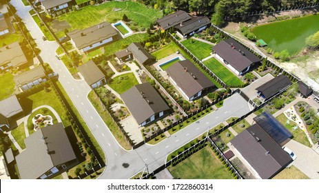 Aerial. Modern suburban houses. Top view from drone.