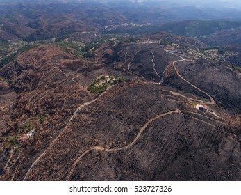 Aerial. Monchique Terrain on the mountain Foya, after the fire Portugal