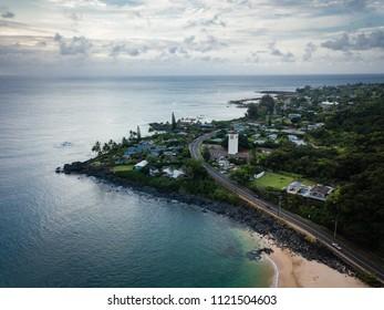 Aerial, moody, dusk landscape of Waimea Bay point on Oahu, Hawaii, north shore.