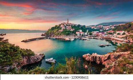 Aerial morning cityscape of Vrbnik town. Wonderful summer seascape of Adriatic sea, Krk island, Kvarner bay archipelago, Croatia, Europe. Beautiful world of Mediterranean countries.
