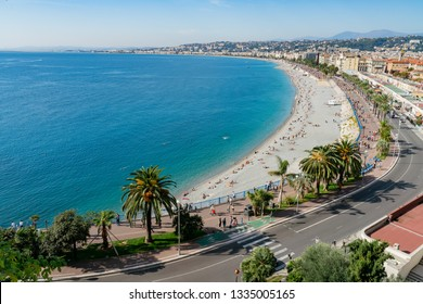Aerial morning view of the famous Angel's Bay with downtown cityscape from Castle Hill, Nice at France