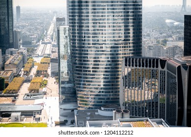 Aerial morning view of La Defense financial district with beautiful skyscrapers in Paris