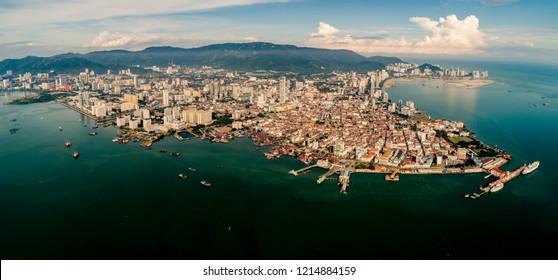 Aerial morning view of Penang, Malaysia