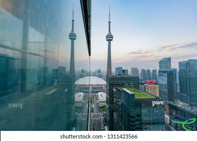 Aerial morning view of the Toronto downtown and CN Tower with reflection at Canada
