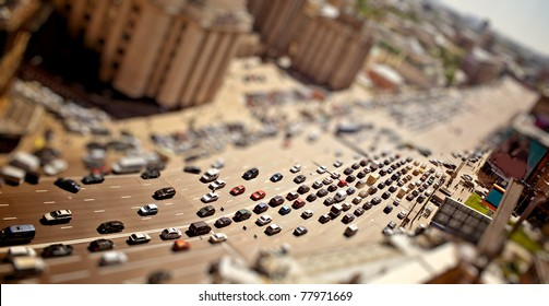 Aerial Moscow view with tilt-shift effect