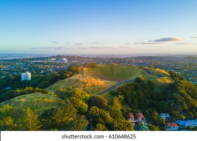 Aerial of the Mount Eden volcano in Auckland, Newzealand.