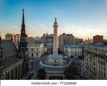 Aerial of Mount Vernon Place in Baltimore, Maryland looking at the Washington Monument