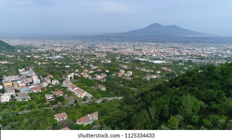 Aerial Mount Vesuvius in Italian Monte Vesuvio stratovolcano located on Gulf of Naples Italy the Vesuvius has erupted many times and is regarded as one of the most dangerous volcanoes in the world