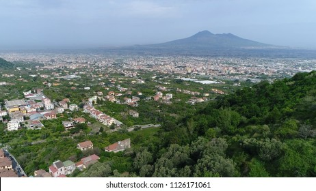 Aerial Mount Vesuvius in Italian Monte Vesuvio strato volcano located on Gulf of Naples Italy the Vesuvius has erupted many times and is regarded as one of the most dangerous volcanoes in the world