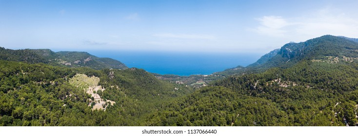Aerial: Mountain landscape of the west coast of Mallorca