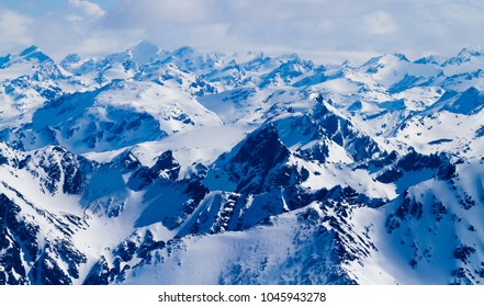 Aerial mountain view near Ushuaia, Tierra del Fuego province, Patagonia Argentina