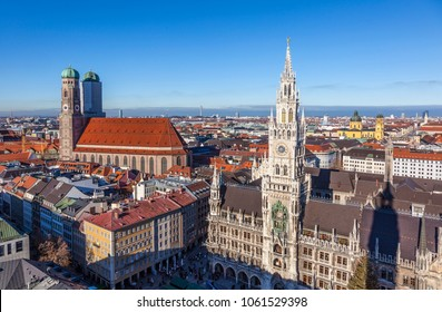 aerial of Munich in beautiful weather uder blue sky