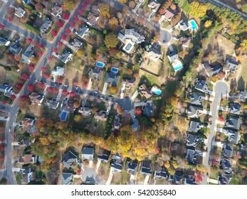 Aerial neighborhood view