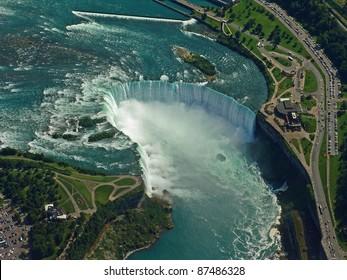 Aerial of Niagara Falls.