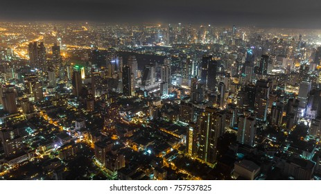 Aerial night cityscape shot of a city which never sleep, Bangkok aerial nightscape