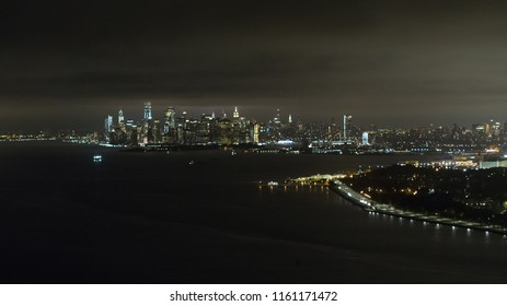 Aerial night image of New York City and the Hudson River