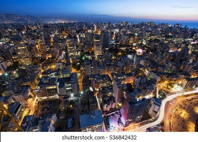 Aerial night shot of Beirut Lebanon , City of Beirut, Beirut city scape