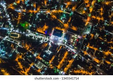 Aerial night shot over a city of Yambol, Bulgaria