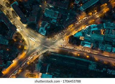 Aerial night shot of the train freight station crossroad of Plovdiv Bulgaria
