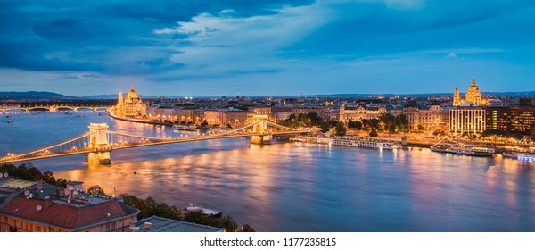 Aerial night skyline of Budapest, Hungary