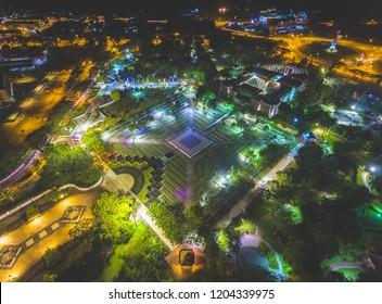 Aerial Night View of City Fan Park Miri, Sarawak.
