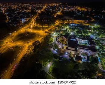 Aerial Night View of City Fan Roundabout Miri, Sarawak.