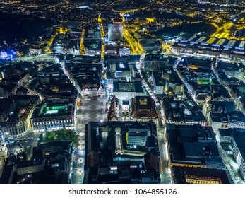 Aerial night view at the historical center of Leipzig, made with drone