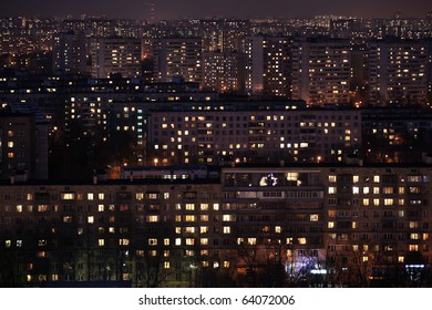 Aerial night view of houses, good for texture or background